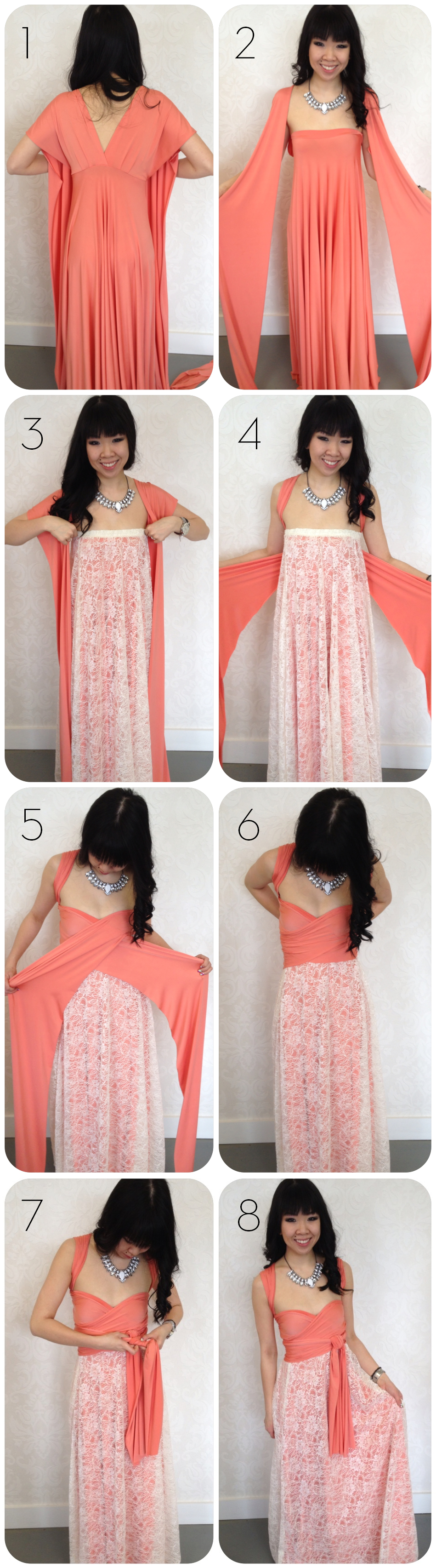 how to add lace to a convertible dress - wear a lace overlay on an infinity dress!